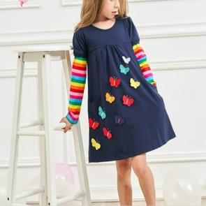 Girls Rainbow Long Sleeve Butterfly Embroidered Pattern Cotton Princess Dress, Size:128cm(Royal Blue)