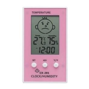 Indoor Outdoor Thermometer Precise Hygrometer Digital Clock Temperature Logger(Pink)