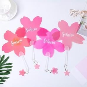 10 PCS Hand Fan Summer Cool Plastic Handheld Fan met sleutelhanger hanger  kleur: willekeurige kleur en brieven levering (Pink Sakura)
