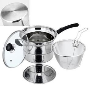 Stainless Steel 22CM Multi-functie Gefrituurde Cooking Pot Keukengerei Set  Style: Double Bottom