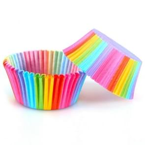 100 PCS PVC Barreled Rainbow Oil-proof Cake Paper Cup High Temperature Baking Mold Muffin Cake Chocolate Paper Tray(colorful)