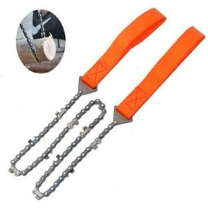 Outdoor Portable Hand-held Wire Saw Field Survival Mangaan Steel Chain Saw Multifunctionele HoutkapZaag (11 Tanden Oranje)