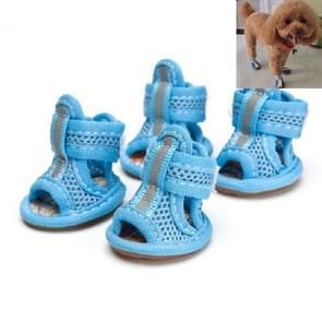 Pees Bottom Mesh Pet Anti-skid Sandalen  Maat:5: 5.5x6.5cm(Blauw)