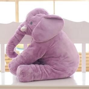 Plush Elephant Doll Toy Kids Sleeping Back Cushion Cute Stuffed Elephant Baby, Height:40cm 300g(Purple)