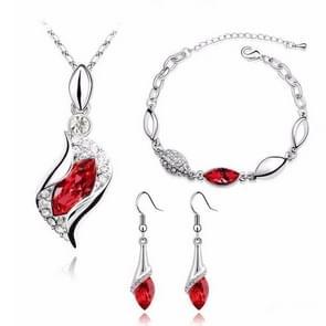3 STKS/set Fashion kristal ketting Earring Armband set (rood)