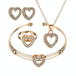 4 PCS/Set Cute Girls Heart Shape Neclace Earrings Ring Jewelry Sets