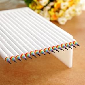 12 PCS Rainbow HB Environmental Pencil Paper Rod Pen(12 PCS Wit)