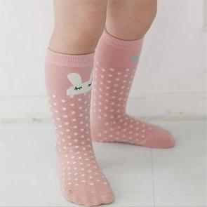 3 Pairs Animal Pattern Baby Anti-slip High Knee Sock, Size:M(Left And Right Pink Rabbit)