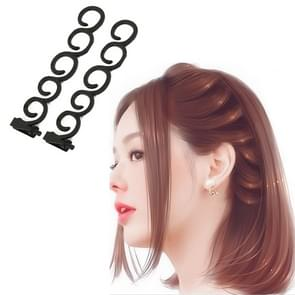 Elegance Hair Braider Flower Magic Hair Clip Queue Twist Plait Hairstyle Styling Accessories,Size:13.5x2.5cm(Black)