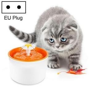 1.6L Automatic Electric Water Fountain Dog Cat Pet Drinker Bowl Drinking Fountain Dispenser, EU Plug(Orange)