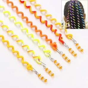 Rainbow Color Cute Girl Curler Hair Braid Styling Tools Hair Braid Roller Hair Accessory(Yellow)