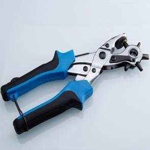 Multifunctional Belt Hole Puncher with 6 Holes Leather Hole Punch for Leather Belts Cards Paper Fabric(Blue)
