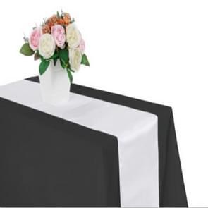 10 stuks satijnen tafelkleed tafel decoratie voor Home Party bruiloft kerst decoratie  grootte: 30X275CM (wit)