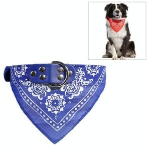 Adjustable Dog Bandana Leather Printed Soft Scarf Collar Neckerchief for Puppy Pet, Size:L(Blue)