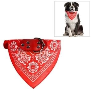 Adjustable Dog Bandana Leather Printed Soft Scarf Collar Neckerchief for Puppy Pet, Size:L(Red)