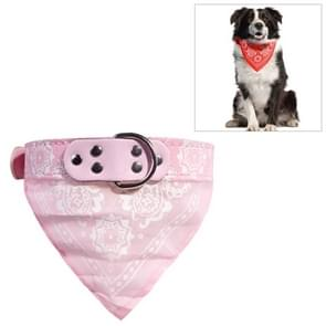 Adjustable Dog Bandana Leather Printed Soft Scarf Collar Neckerchief for Puppy Pet, Size:L(Pink)