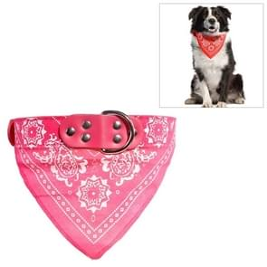 Adjustable Dog Bandana Leather Printed Soft Scarf Collar Neckerchief for Puppy Pet, Size:L(Magenta)