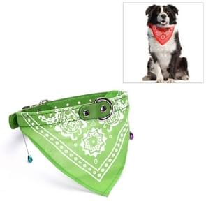 Adjustable Dog Bandana Leather Printed Soft Scarf Collar Neckerchief for Puppy Pet, Size:L(Green)