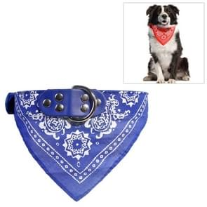 Adjustable Dog Bandana Leather Printed Soft Scarf Collar Neckerchief for Puppy Pet, Size:M(Blue)