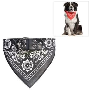 Adjustable Dog Bandana Leather Printed Soft Scarf Collar Neckerchief for Puppy Pet, Size:M(Black)