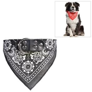 Adjustable Dog Bandana Leather Printed Soft Scarf Collar Neckerchief for Puppy Pet, Size:S(Black)