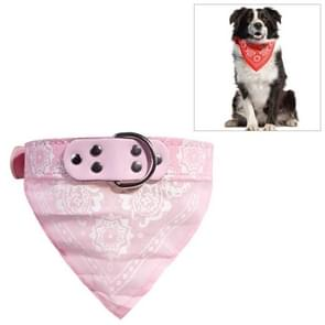 Adjustable Dog Bandana Leather Printed Soft Scarf Collar Neckerchief for Puppy Pet, Size:S(Pink)
