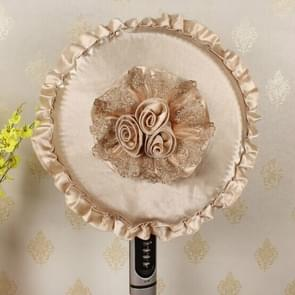 Lace Embroidery Edge Thickened Flower Cloth Round Fan Dust Cover(Yellow)