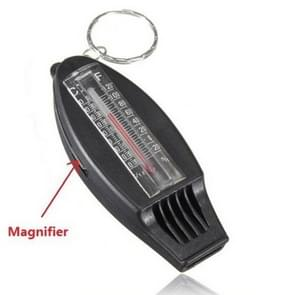 Zwarte sleutelhanger veelzijdige 4 IN 1 kompas thermometer fluitje Vergrootglas voor reizen camping Wandelen klimmen buitensporten