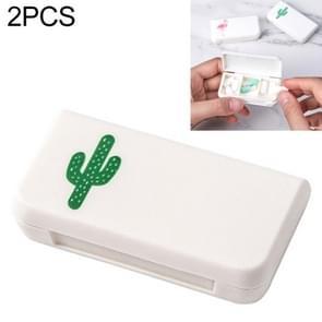 2 PCS draagbare mini pil geval geneeskunde vakken 3 rasters reizen thuis medische drugs container houder gevallen opbergdoos (cactus)