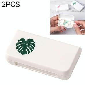 2 PCS Portable Mini Pill Case Medicine Boxes 3 Grids Travel Home Medical Drugs Container Holder Cases Storage Box(Leaf)