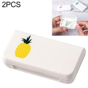 2 PCS draagbare mini pil geval geneeskunde vakken 3 rasters reizen thuis medische drugs container houder gevallen opbergdoos (ananas)