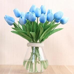 10 PCS Simulation PU Mini Tulip Artificial Flowers Silk Flowers Wedding Home Fake Flowers(Blue)