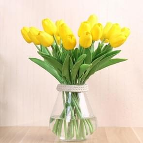 10 PCS Simulation PU Mini Tulip Artificial Flowers Silk Flowers Wedding Home Fake Flowers(Yellow)