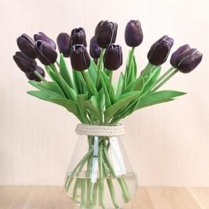 10 PCS Simulation PU Mini Tulip Artificial Flowers Silk Flowers Wedding Home Fake Flowers(Purple)