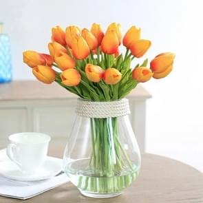10 PCS Simulation PU Mini Tulip Artificial Flowers Silk Flowers Wedding Home Fake Flowers(Orange)