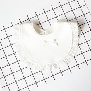 3 PCS Newborn Lace Bow Baby Bibs Infant Saliva Towels(White)