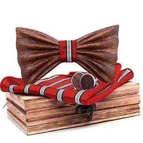 4 in 1 Men 3D Emboss Wood Bow-knot + Pocket Square Towel + Wood Box + 2 Cufflinks Set(T248-C4)