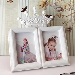 Europese minimalistische creatieve Siamese fotolijstjes kunststof kinderen fotolijstjes, stijl: kroon 2 gaten 6 inch