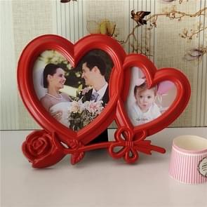 Europese minimalistische creatieve Siamese fotolijstjes kunststof kinderen fotolijstjes, stijl: rood dubbele hart 2 gaten
