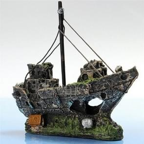 Pirate Ship Rotten Boat Small Net Boat Aquarium Landscaping Fish Tank Glass Cylinder Scene