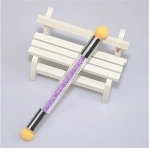 3 stuks nagel vlek pen Diamond Rod dubbele kop spons vlekken gradiënt pen (paars)