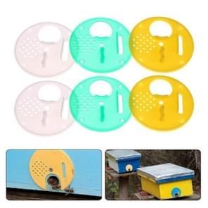 6 STKS bijenteelt tool plastic ronde nest deur uitgang draait uit de Bee  willekeurige kleur levering
