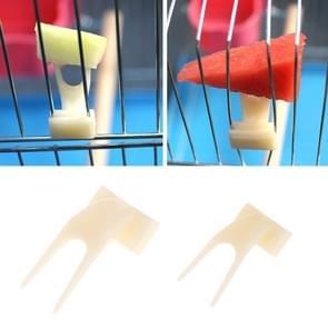 10 stuks vogels papegaaien fruit vork Pet Supplies plastic voedsel houder voeden op kooi huisdier benodigdheden (L)