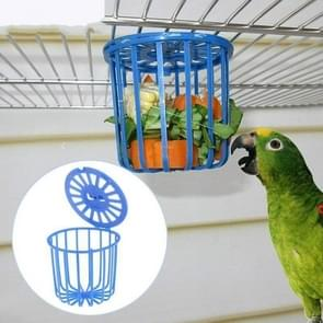 2 PCS Bird Parrot Feeder Cage Fruit Vegetable Holder Cage Hanging Basket Container Pet Bird Supplies(Blue)