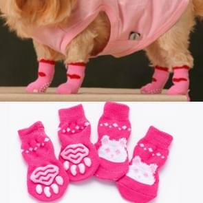 2 Pairs Cute Puppy Dogs Pet Knitted Anti-slip Socks(Pink Rabbit)
