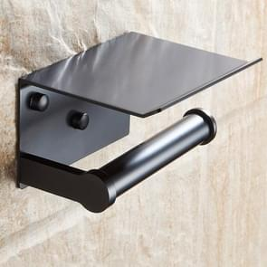Creative Bathroom Toilet Wall Mounted Mobile Phone Paper Holder with Shelf(Black)