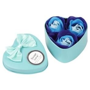 3 Soap Flowers Valentine's Day Gifts Tanabata Gifts Wedding Creative Gifts Heart Shaped Iron Box Roses(Blue)