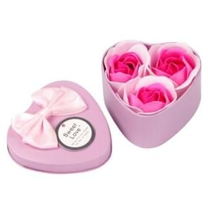 3 Soap Flowers Valentine's Day Gifts Tanabata Gifts Wedding Creative Gifts Heart Shaped Iron Box Roses(Pink)