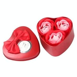 3 Soap Flowers Valentine's Day Gifts Tanabata Gifts Wedding Creative Gifts Heart Shaped Iron Box Roses(Red)