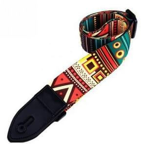 Printed Polyester Adjustable Wide Strap for Guitar / Bass / Ukulele, Length Range: 90-150cm(National)